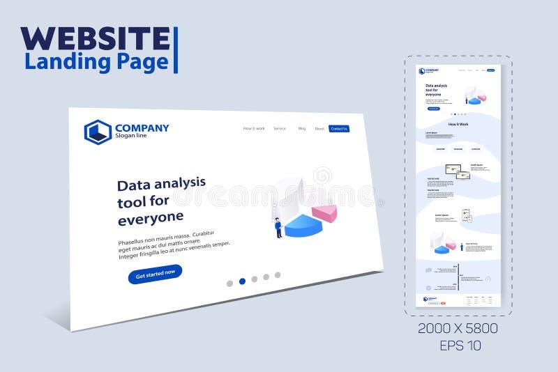 Diseño de aterrizaje de la plantilla del tema del sitio web de la página stock de ilustración