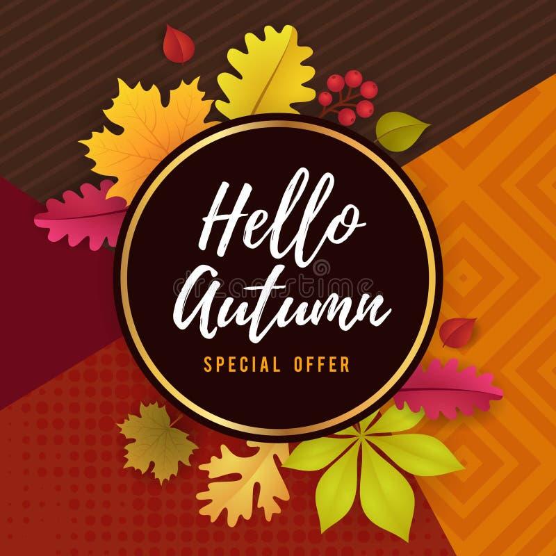 Diseño de Autumn Seasonal Promoting Poster Template ilustración del vector