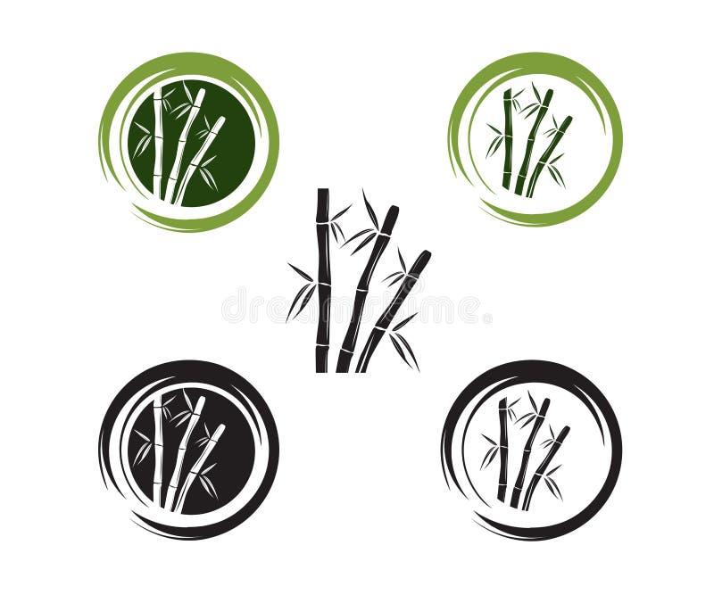 diseño de bambú verde del logotipo del icono del vector de la rama y de la hoja stock de ilustración