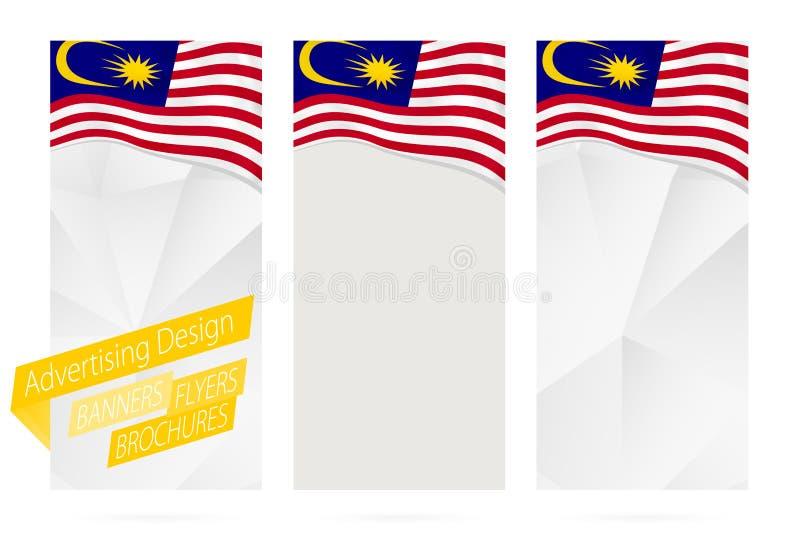 Diseño de banderas, aviadores, folletos con la bandera de Malasia stock de ilustración