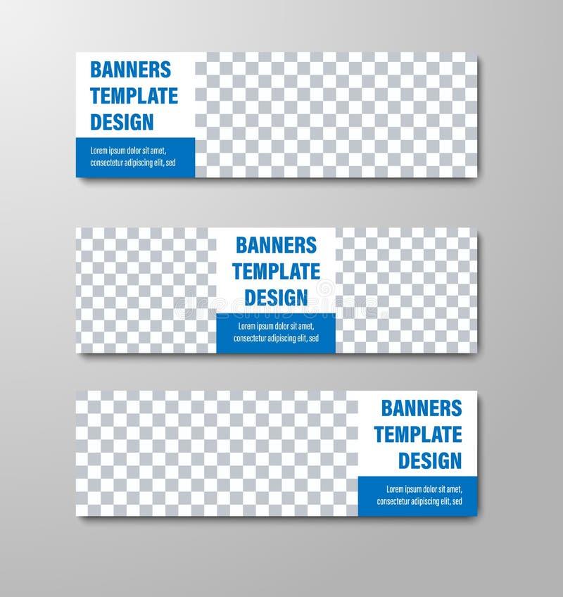 Diseño de banderas horizontales blancas de la web del vector con el lugar para la foto y el texto libre illustration