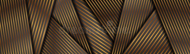 Diseño de banners corporativos en franjas suaves de bronce y negro abstracto ilustración del vector