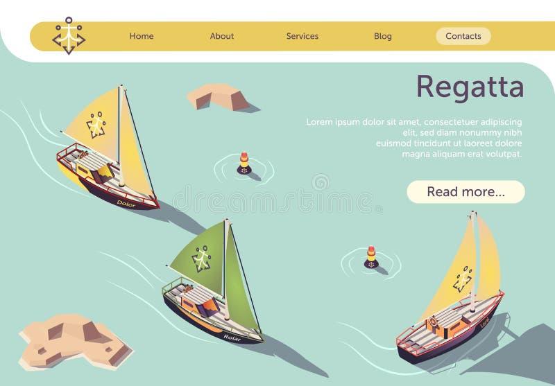 Diseño de banners de Sea Sailing Regatta con barco stock de ilustración
