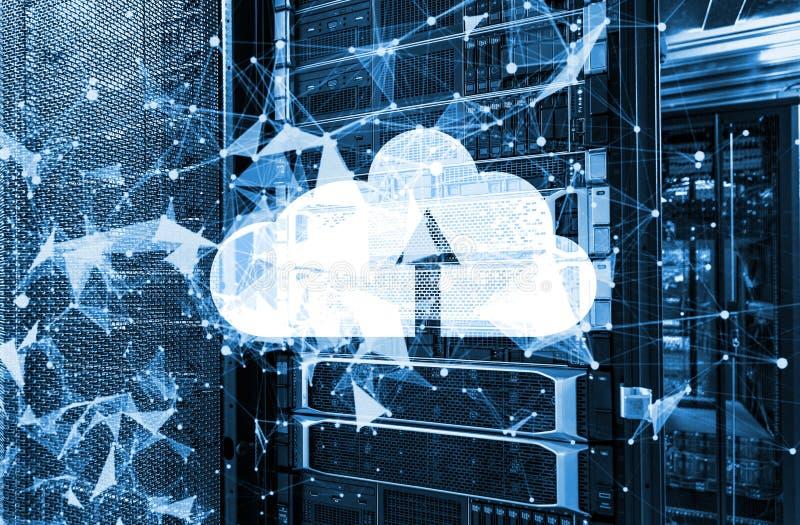 Diseño de base de datos computacional de la nube con la representación de neón de la tonelada del plexo y del icono 3d de la nube imagen de archivo libre de regalías