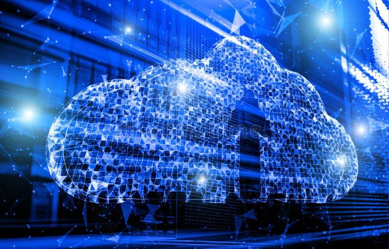 Diseño de base de datos computacional de la nube con la tonelada y el icono de neón 3d del plexo de la nube rendir imagen de archivo