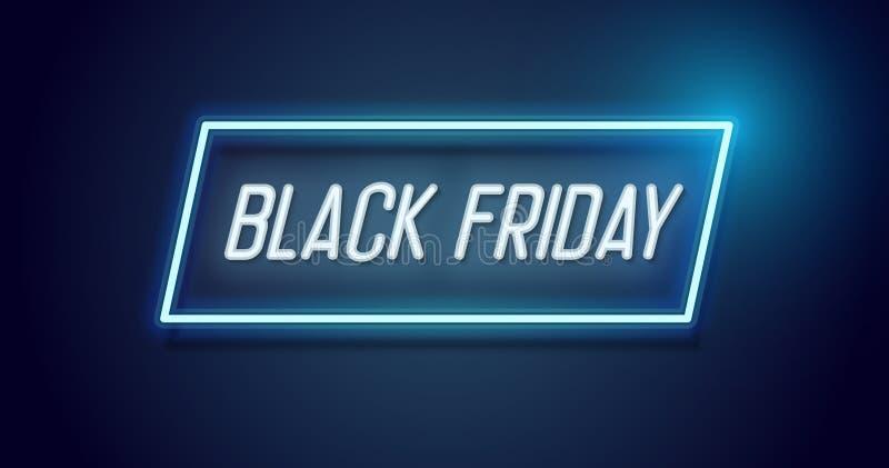 Diseño de Black Friday con el marco ligero de neón Fondo del vector para el acontecimiento de venta estacional de noviembre con e libre illustration