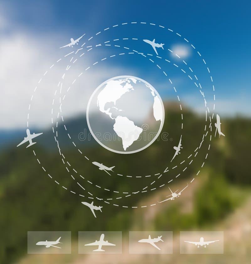Diseño de boletos para el viaje mundial Web e interfaz móvil stock de ilustración