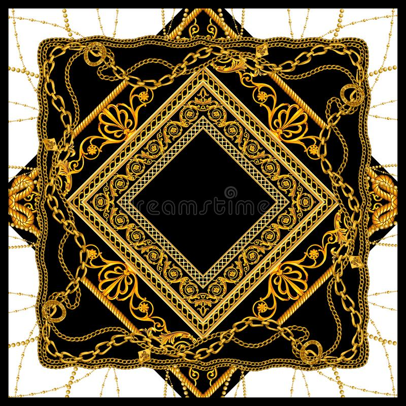 Diseño de cadena de oro barroco del modelo de la bufanda ilustración del vector