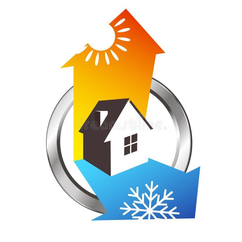 Diseño de calefacción y de enfriamiento de la casa ilustración del vector