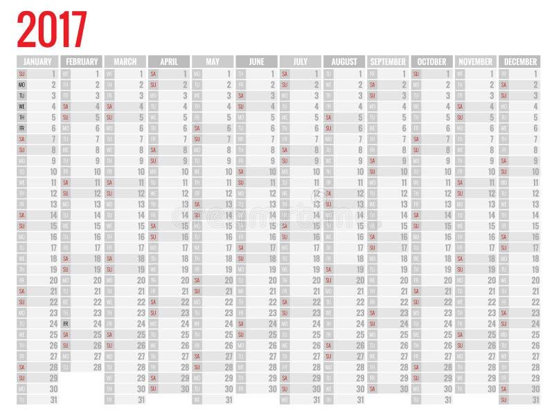 Diseño de calendario mensual de la pared por 2017 años La semana comienza domingo Sistema de 12 meses stock de ilustración