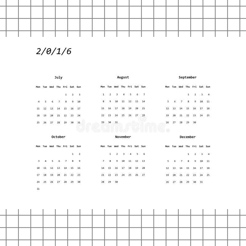 diseño de 2016 calendarios en estilo minimalistic (julio-diciembre) ilustración del vector