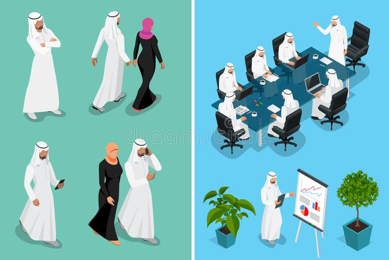 Diseño de carácter de Arabia Saudita del hombre y de la mujer del hombre de negocios isométrico con diversas actitudes, coche en  stock de ilustración