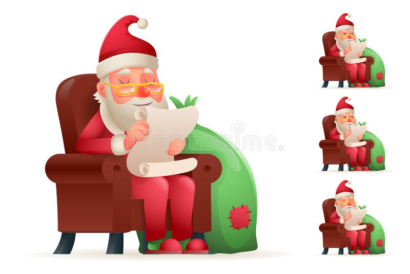 Diseño de carácter cansado triste cansado historieta satisfecho feliz del bolso del regalo de Sit Christmas Santa Claus Pleased d stock de ilustración