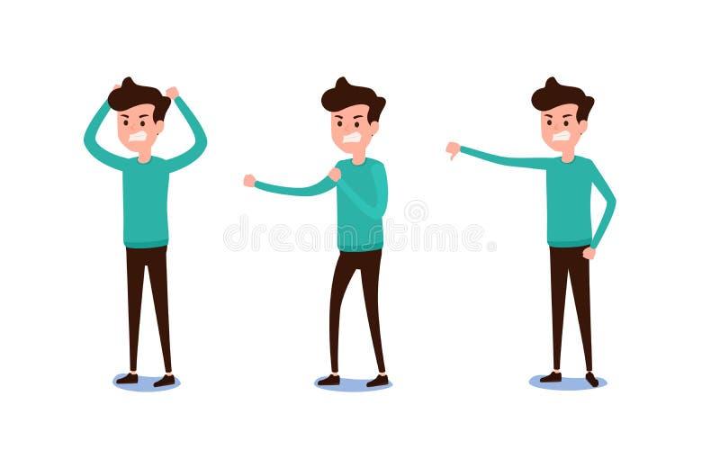 Diseño de carácter independiente Sistema del individuo en ropa casual en emociones enojadas de las diversas actitudes Diversas em stock de ilustración