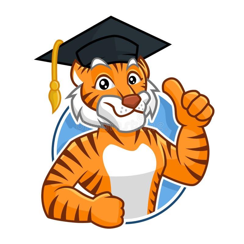 Diseño de carácter de la mascota del tigre de la educación libre illustration