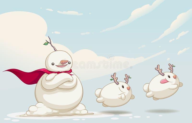 Diseño de carácter lindo del monstruo del muñeco de nieve ilustración del vector