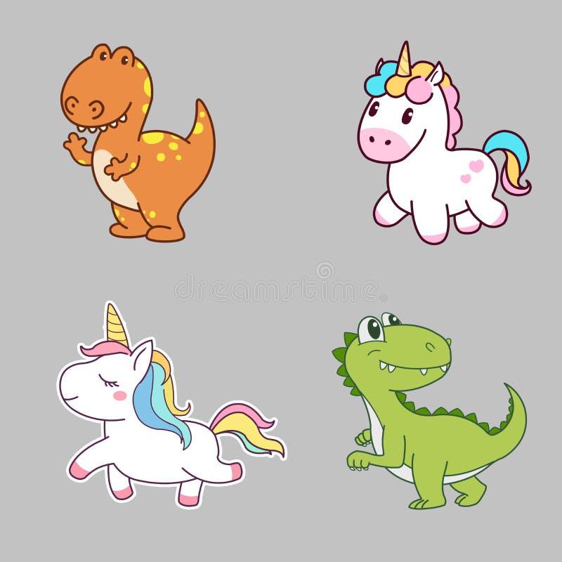 Diseño de carácter lindo de dinosaurio y de unicornio Arte del concepto stock de ilustración