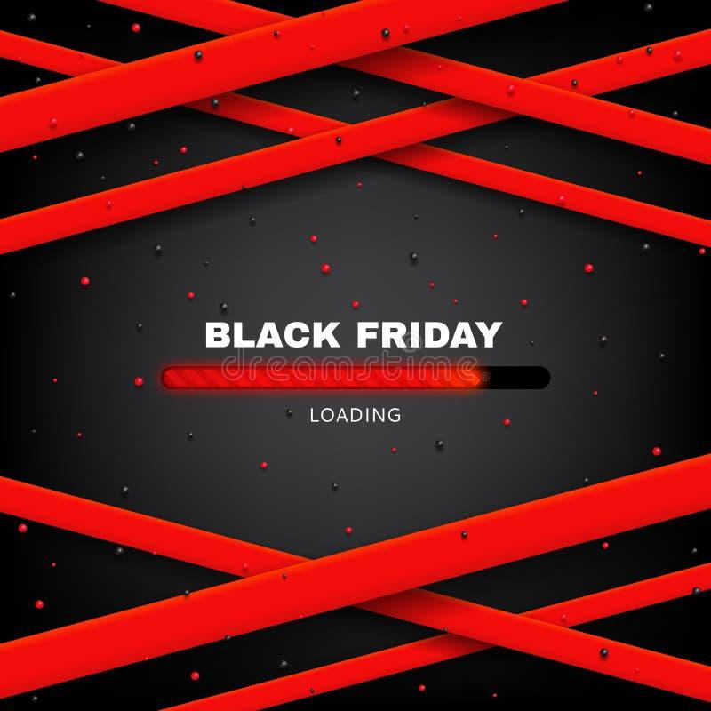 Diseño de cartel de la venta de Black Friday con el ejemplo del vector de la barra de cargamento ilustración del vector