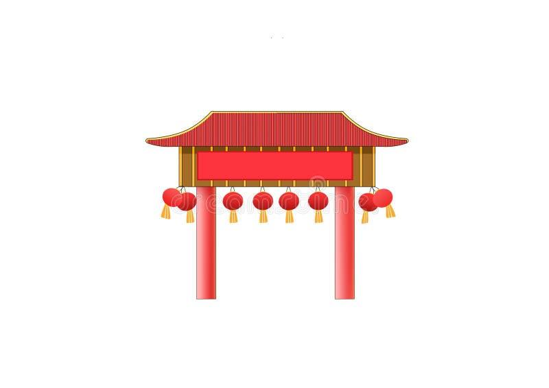 Diseño de China de la fachada de la puerta stock de ilustración