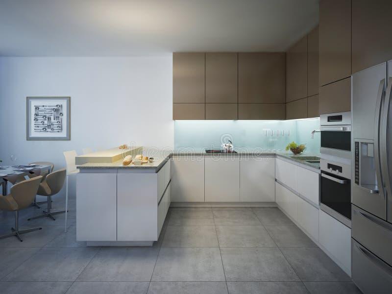 Diseño De Cocina Moderna Brillante Con La Barra Foto de archivo ...