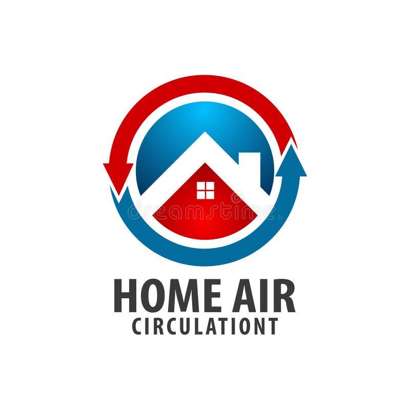 Diseño de concepto casero del logotipo de la circulación de aire de la flecha del círculo Elemento gráfico de la plantilla del sí stock de ilustración
