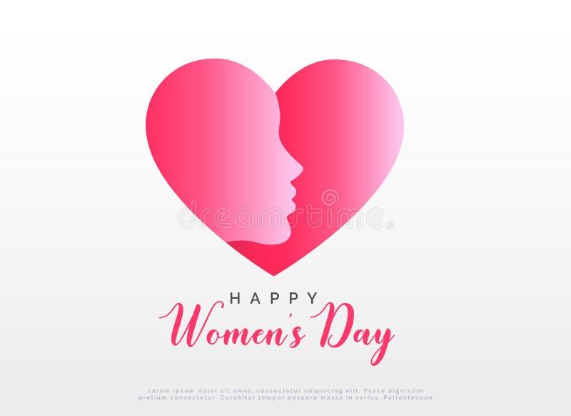 Diseño de concepto con el corazón y la cara para el día feliz del ` s de las mujeres stock de ilustración