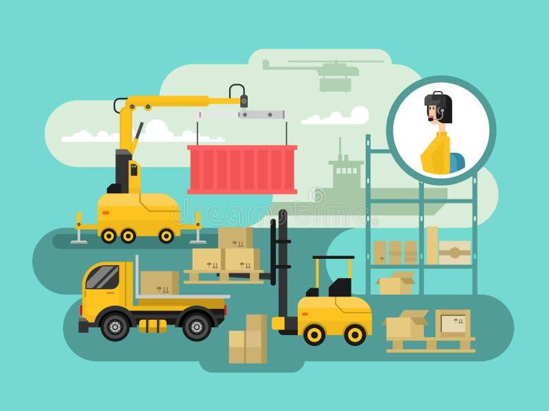 Diseño de concepto de la logística de Warehouse ilustración del vector