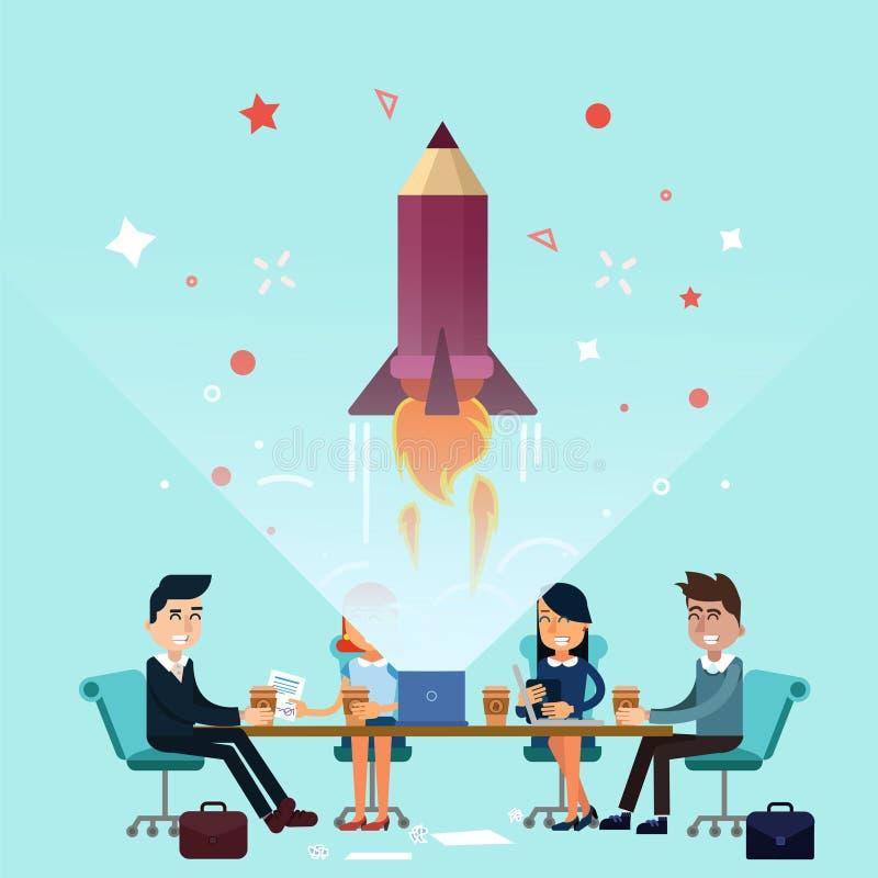 Diseño de concepto de lanzamiento del proyecto del negocio ilustración del vector