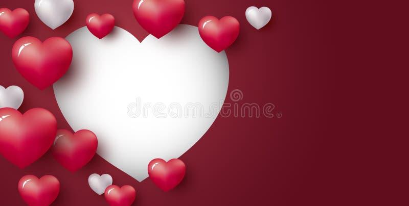 Diseño de concepto del amor de corazón en fondo rojo con el espacio de la copia ilustración del vector