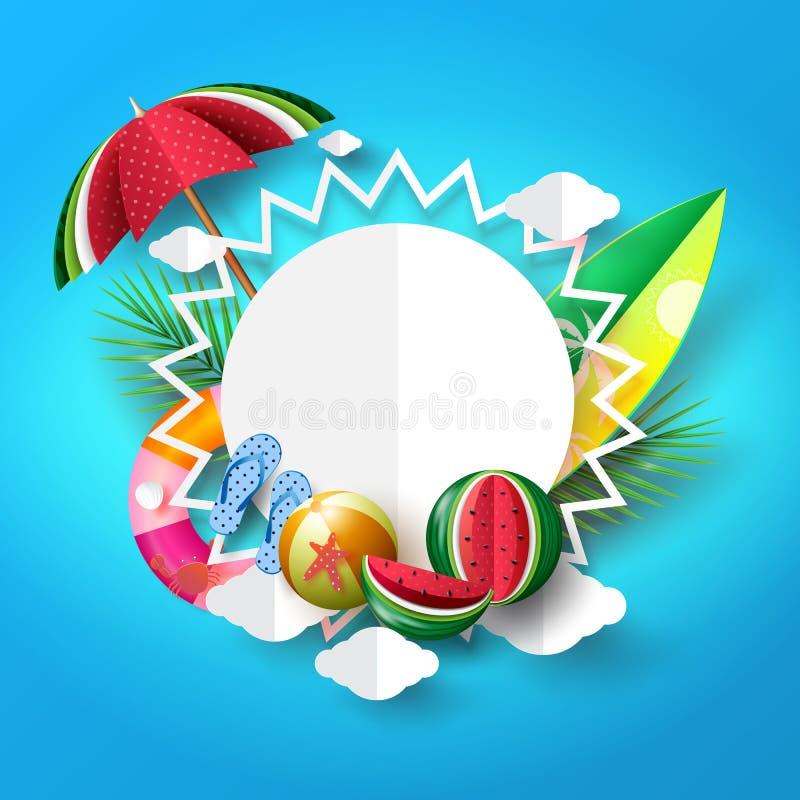 Diseño de concepto del fondo de la bandera de la playa del verano con el sol y el objec ilustración del vector