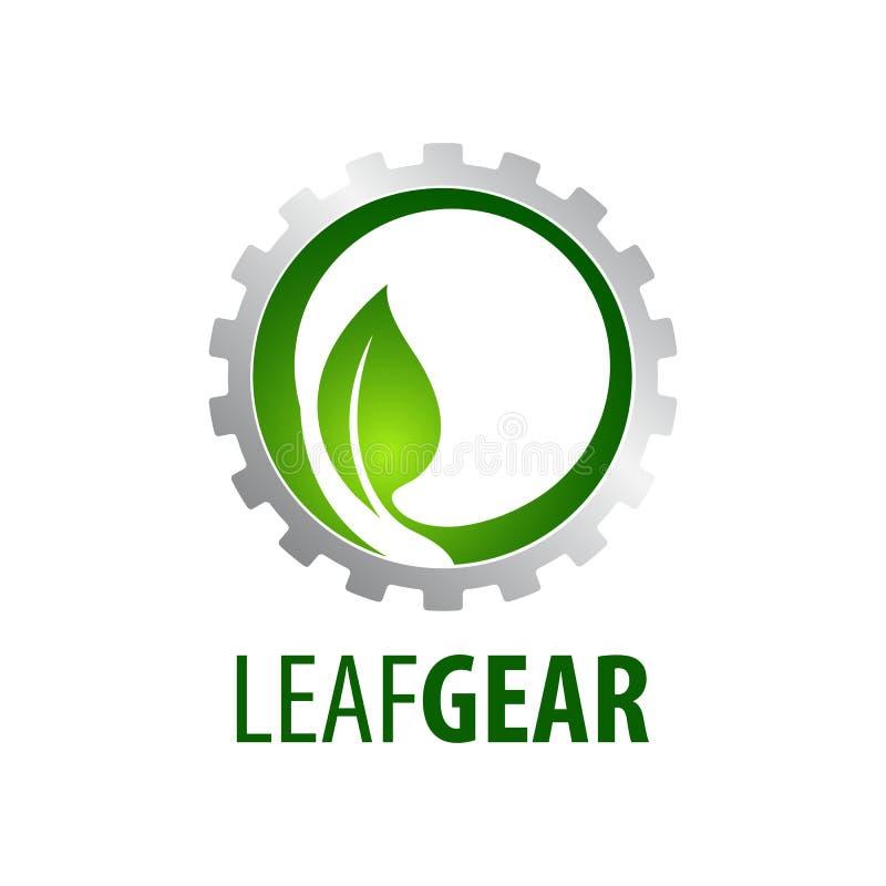 Diseño de concepto del logotipo del engranaje de la hoja Elemento gráfico de la plantilla del símbolo libre illustration