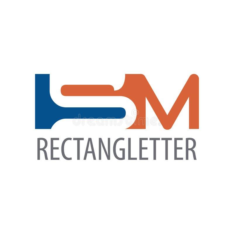 Diseño de concepto del logotipo de la letra inicial SM del rectángulo Elemento gráfico de la plantilla del símbolo stock de ilustración