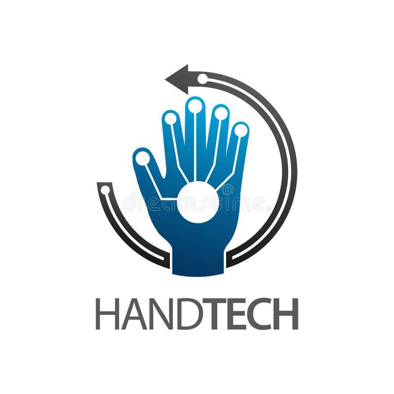 Diseño de concepto del logotipo de la tecnología de la mano Elemento gráfico de la plantilla del símbolo de la flecha del círculo ilustración del vector