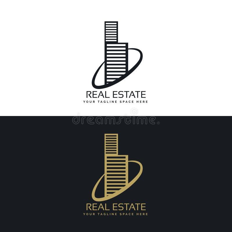 Diseño de concepto del logotipo del negocio del edificio de las propiedades inmobiliarias ilustración del vector