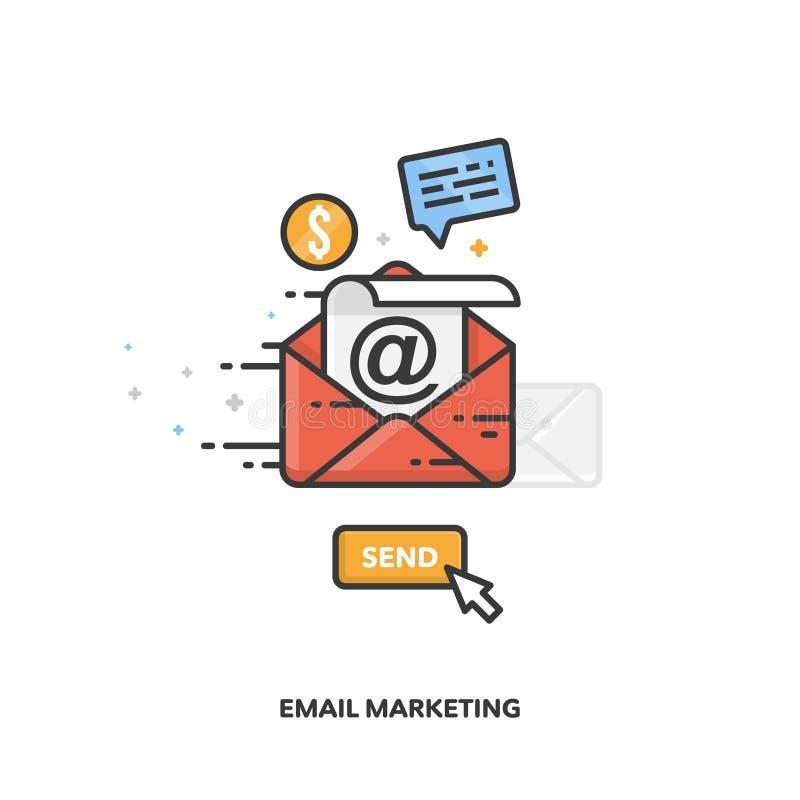 Diseño de concepto del márketing del correo electrónico Línea diseño del vector libre illustration