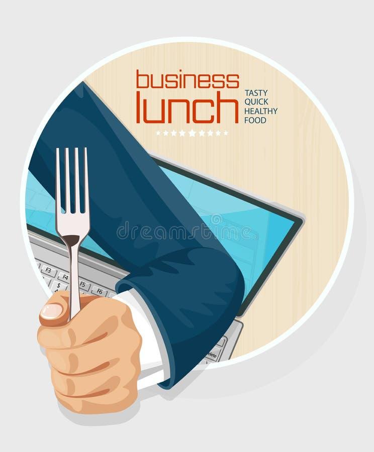 Diseño de concepto del tiempo del almuerzo stock de ilustración