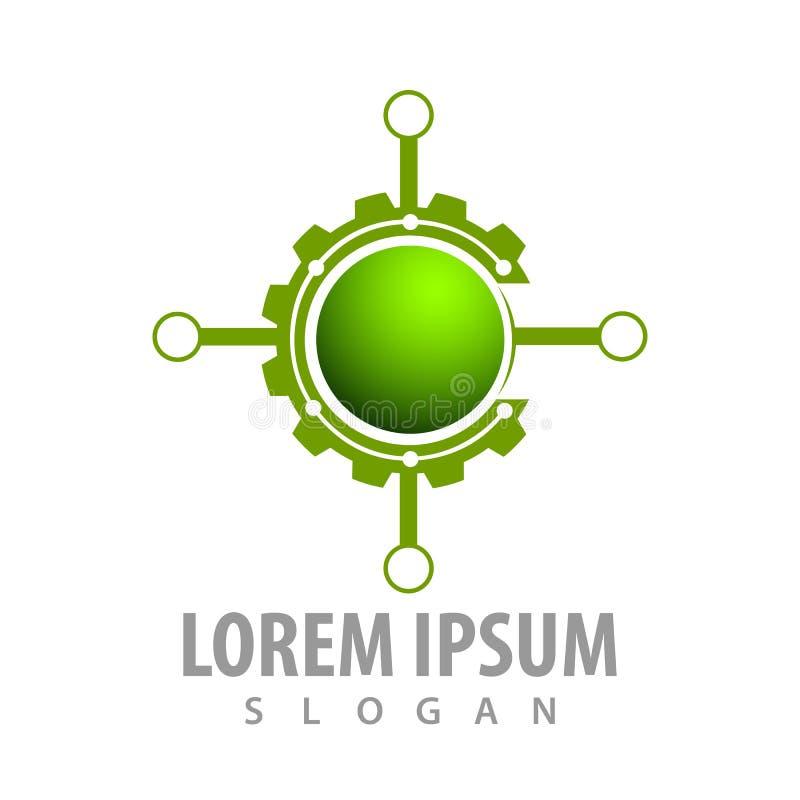 Diseño de concepto de la blanco del engranaje del círculo Vector gráfico del elemento de la plantilla del símbolo stock de ilustración
