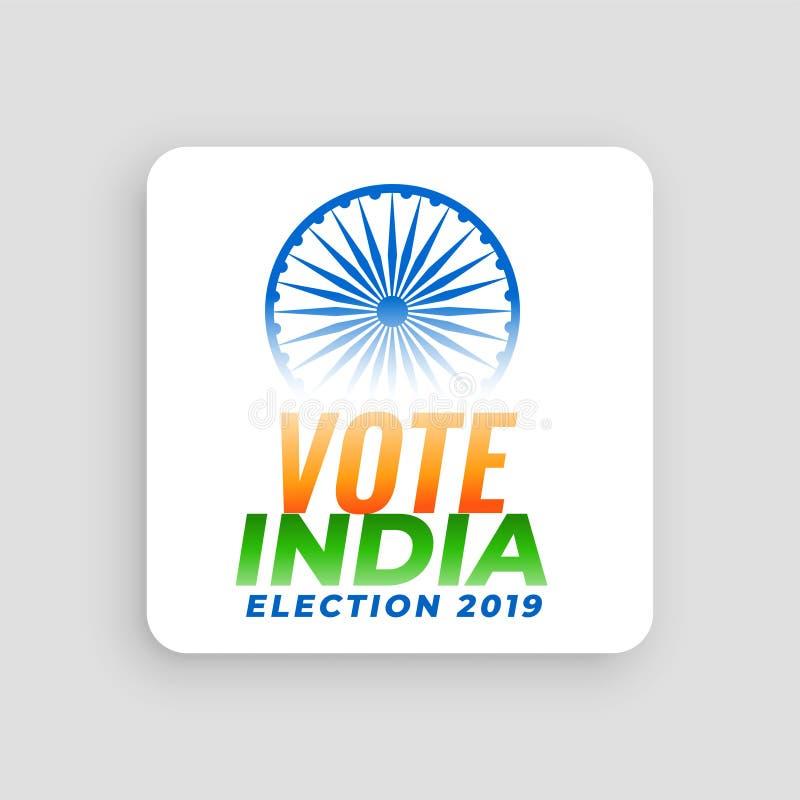 Diseño 2019 de concepto de la elección de la India del voto stock de ilustración