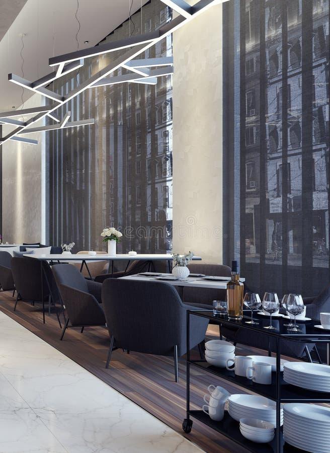 Diseño de concepto moderno de salón del restaurante ilustración del vector