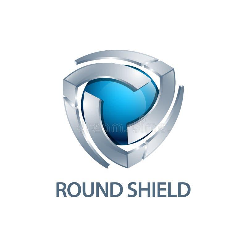 Diseño de concepto redondo del logotipo del escudo Estilo tridimensional elemento gráfico de la plantilla del símbolo 3D stock de ilustración