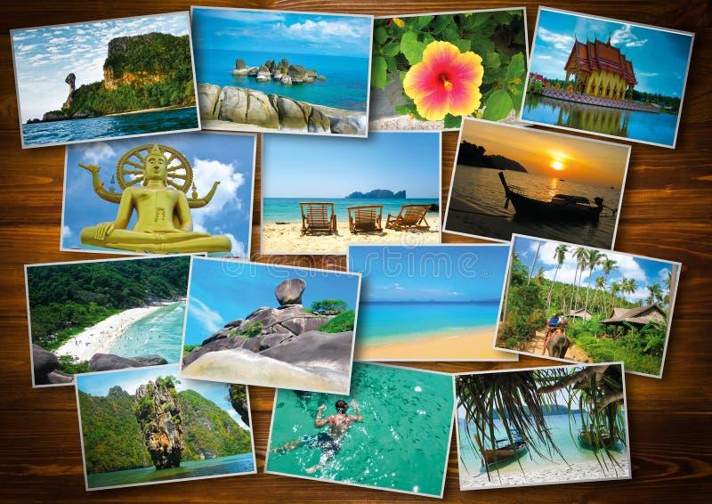 Diseño de concepto tailandés del turismo del viaje - collage de las imágenes de Tailandia imagen de archivo libre de regalías
