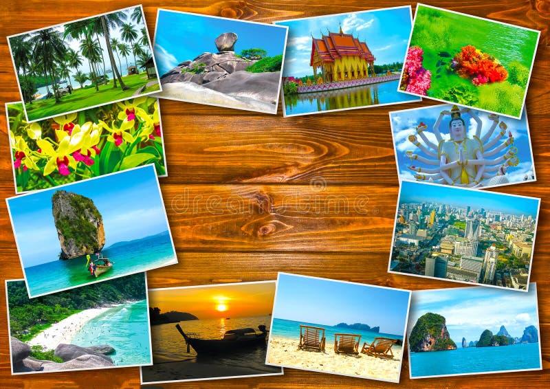 Diseño de concepto tailandés del turismo del viaje - collage de las imágenes de Tailandia imagen de archivo