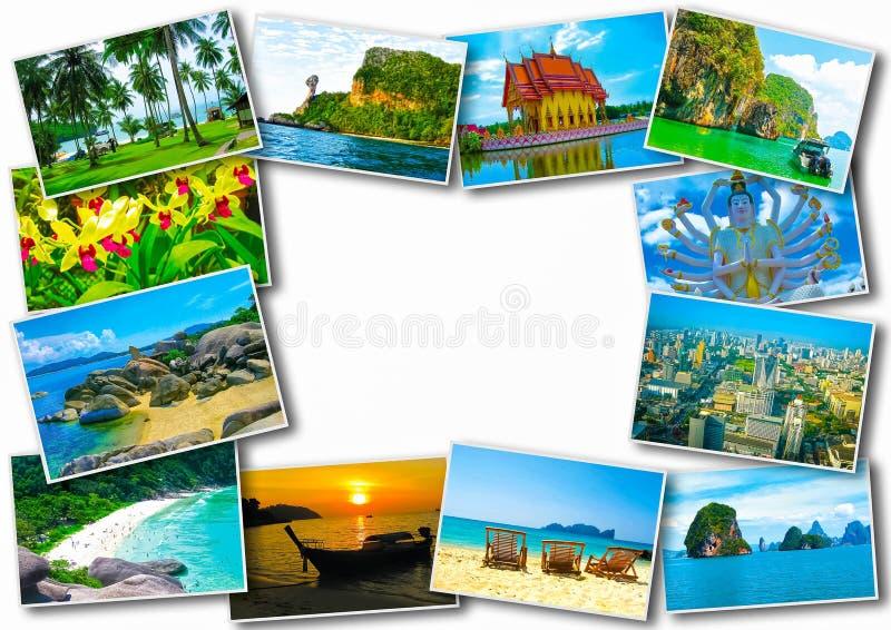 Diseño de concepto tailandés del turismo del viaje - collage de las imágenes de Tailandia foto de archivo libre de regalías