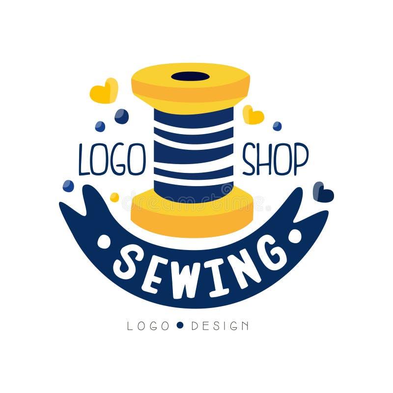 Diseño de costura del logotipo de la tienda, boutique del vestido, etiqueta de la tienda, salón de las modistas, adaptando el eje stock de ilustración