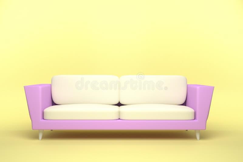 Diseño de cuero del rosa y blanco del sofá en fondo amarillo ilustración del vector