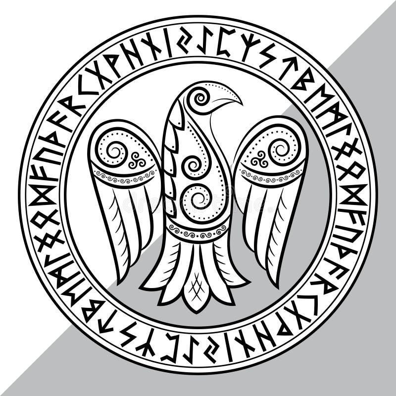 Diseño de cuervo en estilo céltico, escandinavo y runas nórdicas libre illustration