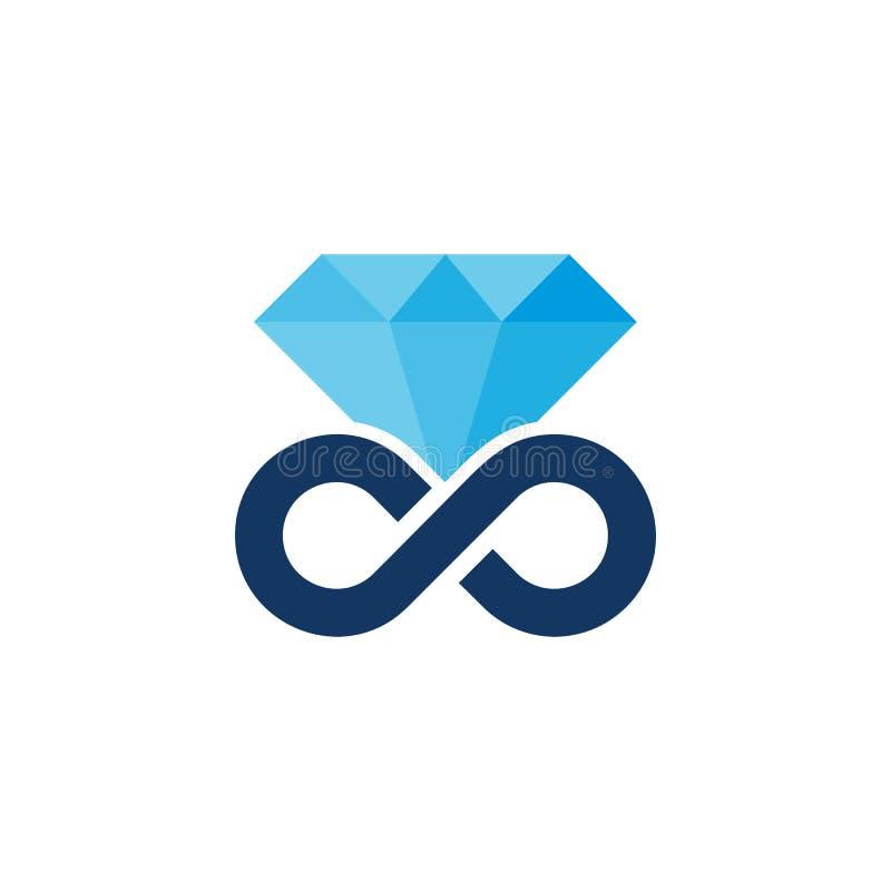 Diseño de Diamond Infinity Head Logo Icon stock de ilustración