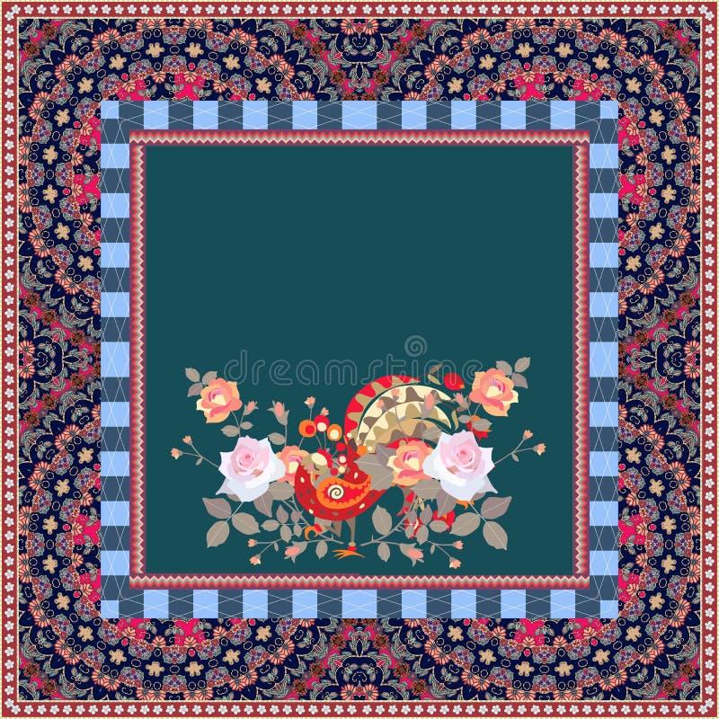 Diseño de empaquetado del té Tarjeta cuadrada con el pavo real y los ramos lindos ilustración del vector