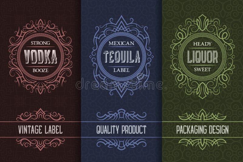 Diseño de empaquetado del vintage fijado con las etiquetas de la bebida del alcohol de la vodka, tequila, licor stock de ilustración