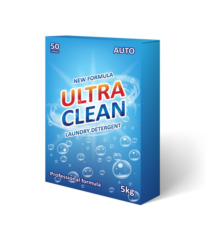Diseño de empaquetado detergente del polvo Detergente para ropa, plantilla de la caja del producto del poweder que se lava para e libre illustration